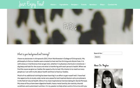 Screenshot of FAQ Page justenjoyfood.com - FAQ's | Just Enjoy Food - captured Oct. 31, 2014