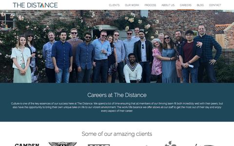 Screenshot of Jobs Page thedistance.co.uk - iOS and Android careers and job positions | The Distance, York - captured Sept. 22, 2018