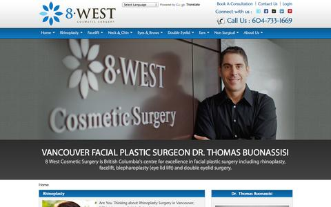 Screenshot of Home Page Privacy Page 8west.ca - Vancouver Facial Plastic Surgeon, Rhinoplasty Surgery, Cosmetic Surgery Vancouver - captured Oct. 6, 2014