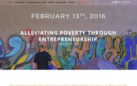 Screenshot of Home Page aptesummit.org - Alleviating Poverty Through Entrepreneurship. - captured Feb. 5, 2016