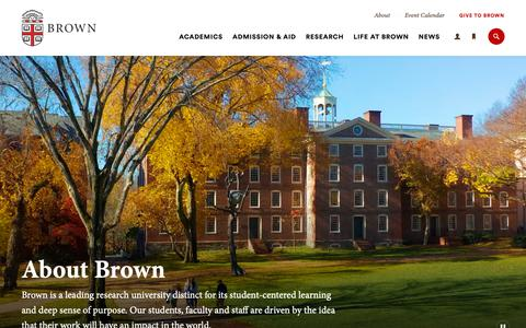 Screenshot of About Page brown.edu - About Brown | Brown University - captured April 5, 2019