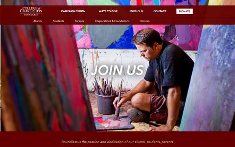 Screenshot of Signup Page cofc.edu - Boundless: the Campaign for the College of Charleston - captured March 4, 2016