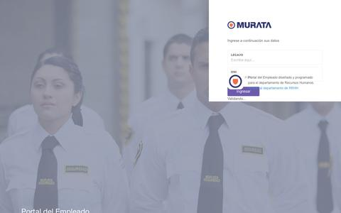 Screenshot of Login Page murata.com.ar - Murata - Panel de Recursos Humanos - captured Jan. 2, 2017