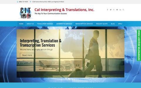 Screenshot of Home Page calinterpreting.com - Los Angeles Translation Services - Cal Interpreting & Translations - captured Oct. 16, 2016