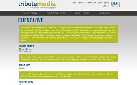 Screenshot of Testimonials Page tributemedia.com - Client Love | Tribute Media - captured Sept. 19, 2014