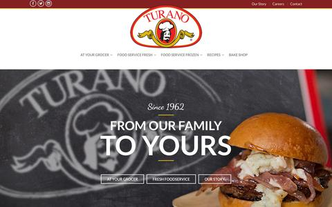 Screenshot of Home Page turano.com - Home - Turano Baking Co - captured Feb. 16, 2016