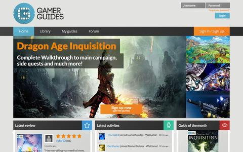 Screenshot of Home Page gamerguides.com - Gamer Guides: High Quality Video Game Walkthroughs - captured Jan. 14, 2015