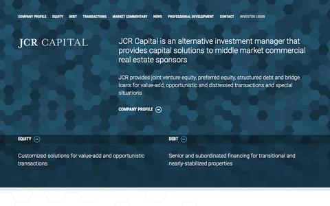 Screenshot of Home Page jcrcapital.com - Alternative Investment Manager - JCR Capital - captured May 26, 2017