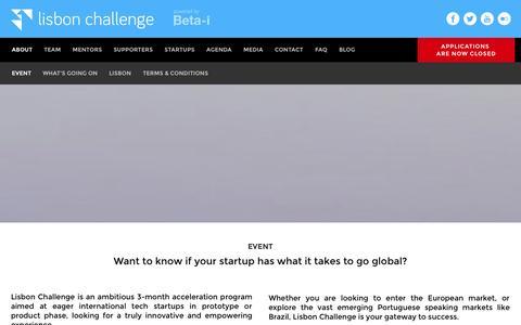 Screenshot of About Page lisbon-challenge.com - The Lisbon Challenge | Event - captured Sept. 25, 2014