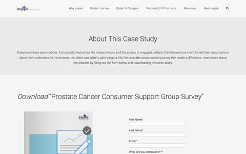 Screenshot of Case Studies Page inspire.com - Prostate Cancer Consumer Support Group Survey - captured April 7, 2017