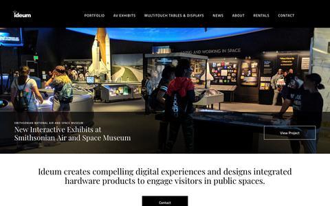Screenshot of Home Page ideum.com - Ideum - exhibit design | touch tables | interactive exhibits - captured Aug. 5, 2018