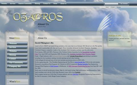 Screenshot of About Page ozaeros.net - About Us - captured Oct. 5, 2014
