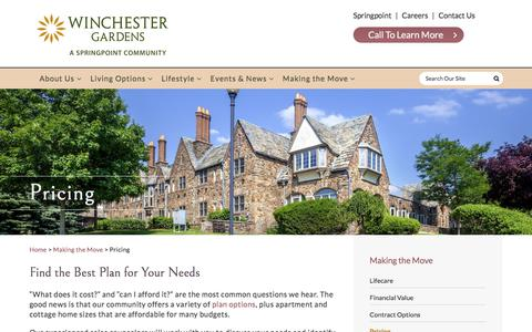 Screenshot of Pricing Page winchestergardens.com - Senior Living Costs & Pricing in Maplewood, NJ | Winchester Gardens - captured Sept. 21, 2018