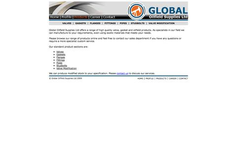 Screenshot of Products Page globaloilfieldsupplies.co.uk - GOS - Products - captured Oct. 3, 2014