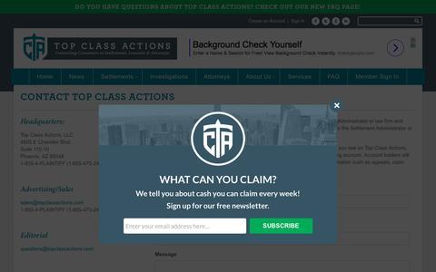 Screenshot of Contact Page topclassactions.com - Contact Top Class Actions - Top Class Actions - captured Oct. 27, 2017