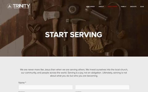 Screenshot of trinityworship.net - Start Serving — Trinity Worship Center - captured June 13, 2017