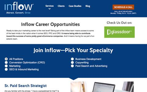Screenshot of Jobs Page goinflow.com - eCommerce Marketing Job Openings in Denver, CO - SEO, PPC, CRO - captured June 18, 2017