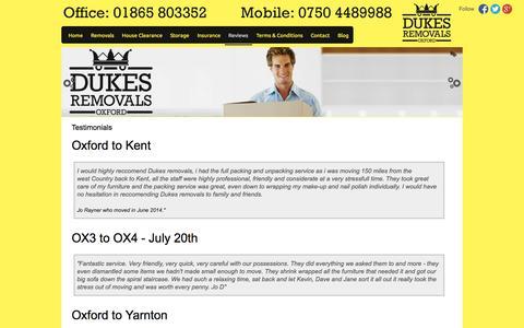 Screenshot of Testimonials Page dukesremovals.co.uk - Reviews | Dukes Removals - captured Sept. 30, 2014