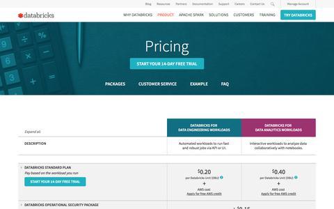 Screenshot of Pricing Page databricks.com - Databricks Plans and Pricing - captured June 13, 2017