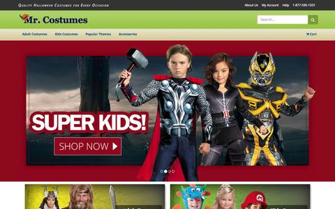 Screenshot of Home Page mrcostumes.com - Halloween Costumes for Adults and Kids - Mr. Costumes - captured Sept. 7, 2015