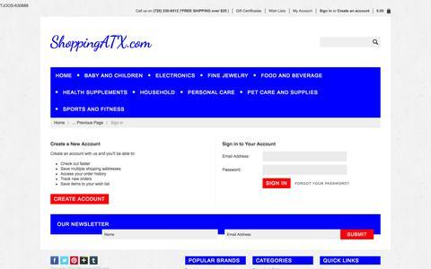 Screenshot of Login Page shoppingatx.com - ShoppingATX.com - Sign in - captured Oct. 7, 2014