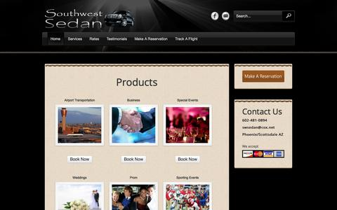 Screenshot of Products Page swsedan.net - Products «  Southwest Sedan - captured Oct. 6, 2014