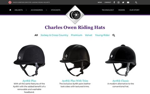 Screenshot of Products Page charlesowen.com - Riding hats - Charles Owen - captured Oct. 25, 2019