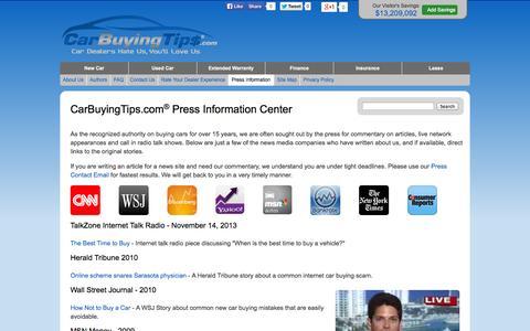Screenshot of Press Page carbuyingtips.com - CarBuyingTips.com - Press Releases - captured Sept. 24, 2014