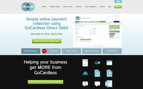 Screenshot of Home Page directli.co.uk - 1% Direct Debit payment processing with Directli using GoCardless •• Directli online Direct Debit processing - captured Sept. 25, 2014