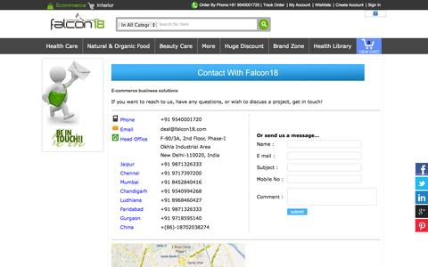 Screenshot of Contact Page falcon18exports.in - E-commerce business solutions, business solutions for E-commerce - captured Nov. 5, 2014