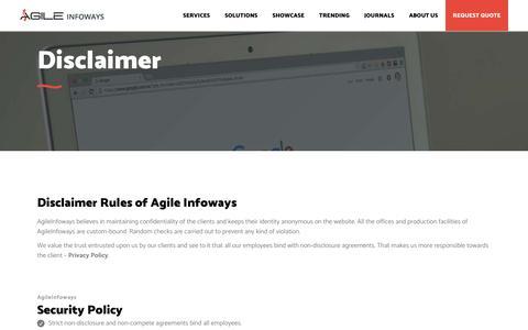 Agile Infoways Company Disclaimer Statement Policy | Agile Infoways