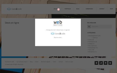 Screenshot of Contact Page base2code.com - Devis en ligne - Base2code - Création de site internet - captured Feb. 3, 2016