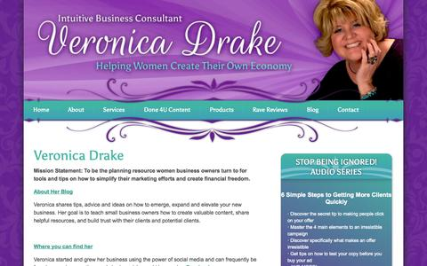 Screenshot of About Page veronicadrake.co - Meet Veronica Drake | Intuitive Business Consultant | - captured Oct. 26, 2014