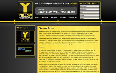 Screenshot of Terms Page yellowfencerentals.com - Terms of Service | Yellow Fence Rentals - captured Oct. 27, 2014