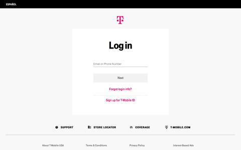 Screenshot of Login Page t-mobile.com - My T-Mobile Online | Access Messages, Minutes & Bills | T-Mobile - captured Oct. 15, 2019