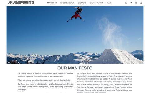 Screenshot of About Page manifestosport.com - Manifesto Sport Management - captured Feb. 4, 2016