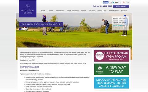 Screenshot of Jobs Page leedsgolfcentre.com - Work at Leeds Golf Centre - captured Sept. 29, 2014
