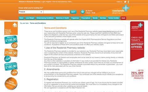 Screenshot of Terms Page rowlandspharmacy.co.uk - Terms and Conditions, Rowlands Pharmacy - captured Sept. 21, 2018