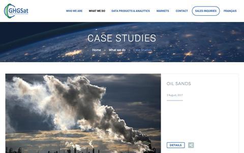 Screenshot of Case Studies Page ghgsat.com - Oil Sands, Shale Gas & HydroPower   GHGSat - captured Nov. 9, 2018
