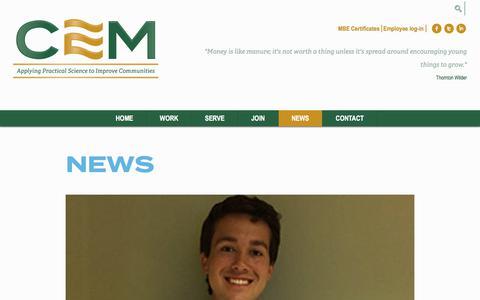 Screenshot of Press Page cemscience.com - News | Chesapeake Environmental Management | Bel Air, MD - captured July 28, 2017