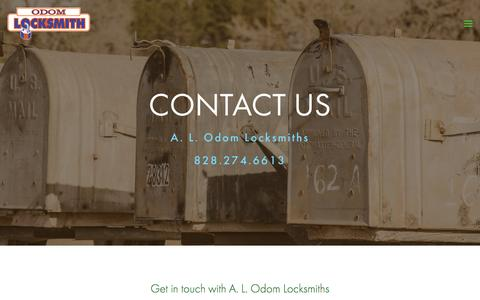 Screenshot of Contact Page alodom.com - Contact Us | A.L. Odom Locksmiths — A. L. Odom Locksmiths - captured Oct. 6, 2016