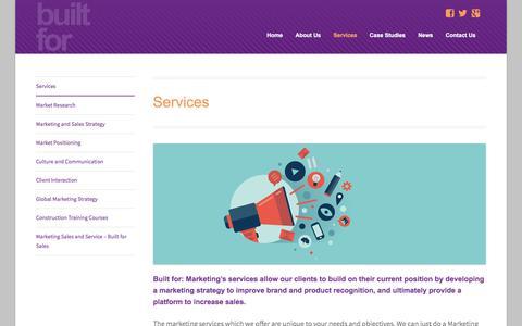 Screenshot of Services Page builtformarketing.co.uk - Marketing Services | Built for Marketing - captured Dec. 30, 2015
