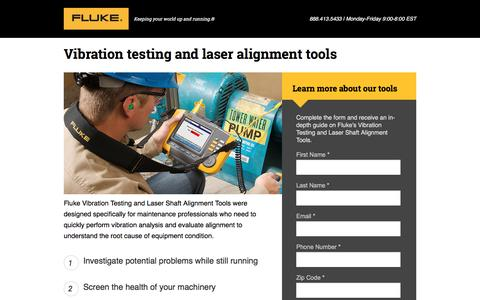 Screenshot of Landing Page fluke.com - Fluke Vibration Testing and Laser Alignment Tools - captured April 25, 2017