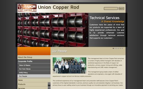 Screenshot of Team Page unioncopper.ae - Our People   Union Copper Rod - captured Oct. 6, 2014