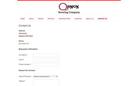 Screenshot of Contact Page opinionbrewing.com - Contact Opinion Brewing Company - captured Nov. 4, 2014