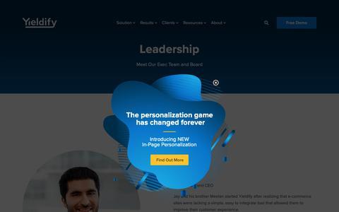 Screenshot of Team Page yieldify.com - Leadership - Yieldify | Customer Journey Tools - captured March 15, 2019