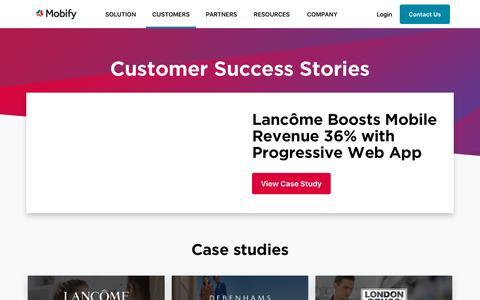 Screenshot of Case Studies Page mobify.com - Case Studies | Mobify - captured Sept. 26, 2018