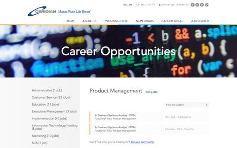 Screenshot of Jobs Page ceridian.com - Product Management Careers | Career Opportunities | Careers at Ceridian | Join a global leader in human capital management technology! - captured Jan. 18, 2017