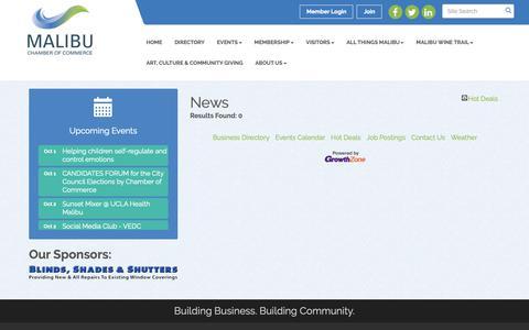 Screenshot of Press Page malibu.org - News - Malibu Chamber of Commerce, CA - captured Oct. 2, 2018