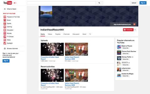 Screenshot of YouTube Page youtube.com - IndianHeadResortNH  - YouTube - captured Oct. 23, 2014